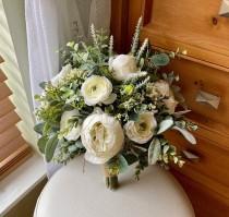 wedding photo - Wedding bouquet, ivory boho bridal bouquet, garden style off white wedding flowers, rustic peony sage green eucalyptus ranunculus bridesmaid