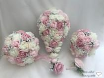 wedding photo - Artificial wedding bouquets flowers sets ivory mixed pinks