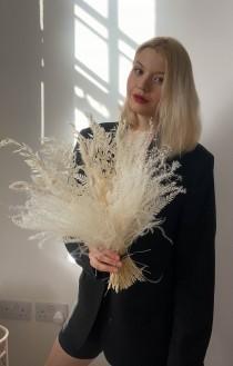 wedding photo - All White Pampas and Prairie Bouquet / Pampas Grass Dried Grasses Bouquet / Dried Flower Bouquet / Boho Bridal Bouquet