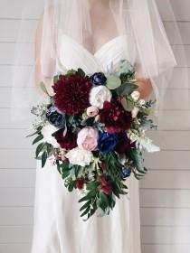 wedding photo - Cascade Wedding bouquet, Burgundy Bouquet, Cascading Bridal Bouquet, Navy Wedding Bouquet, Eucalyptus Bouquet