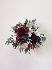 wedding photo - Wedding bouquet, Bridal bouquet burgundy, Burgundy Bridesmaids Bouquet, Wedding Flowers, Navy Wedding bouquet, Bouquet wedding burgundy