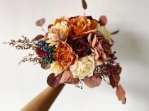 wedding photo - Burnt Orange & Burgundy Fall Bouquet, Fall Wedding Bouquet, Autumn Bridal Bouquet, Fall Silk Flower Bouquet, Rustic Bouquet with Fall Colors