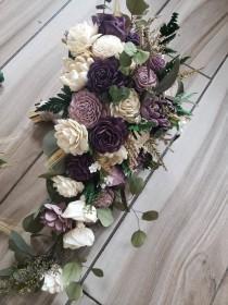 wedding photo - Shades of purple cascading bouquet, wedding flowers, sola wood flower