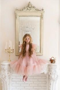 wedding photo - Flower girl dress, Blush flower girl dress, flower girl dress tulle, flower girl dress tulle blush, boho flower girl dress