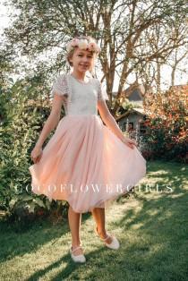 wedding photo - Pretty Lace Flutter Sleeve Tea/Knee Length Blush Pink Peach Tulle Bohemian Rustic Hippie Style Flower Girl Dress