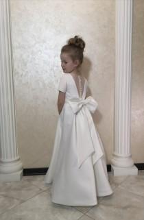 wedding photo - Ivory Flower Girl Dress Stylish Dress For Girls Ivory Dress Dress For Girls Satin Flower Dress Dress For a Birthday Princess Dress