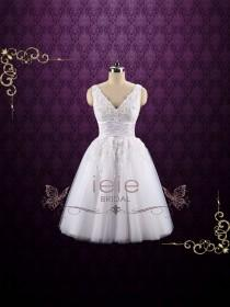 wedding photo - Retro Tea Length Lace Wedding Dress with Floral Lace