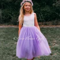 wedding photo - Flower Girl Dress Boho Dress Occasion Bridal Dress - Lilac - Optional Sash