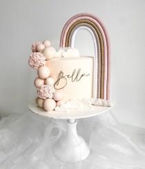 wedding photo - Macrame rainbow cake topper