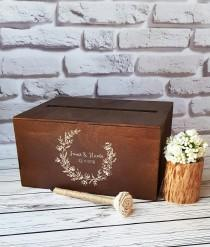 wedding photo - Wedding Card Box With Slot Wooden Card Box For Wedding Post Box Card Holder For Wedding Envelope Box Wooden Money Holder Cards Box Gift Box