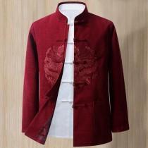 wedding photo - Men's wedding suit, Chinese wedding suit, Wedding Tang Jacket, embroidered dragon pattern, wine red color, mandarin collar