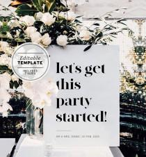 wedding photo - Lets Get This Party Started Welcome Sign, Wedding, Bachelorette Party, Bridal Shower, Hens night, Bucks Night, Edit and Print #001