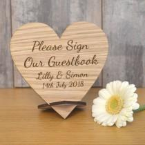 wedding photo - Wooden Please Sign Our Guestbook Plaque - Personalised Wedding Heart Table Sign