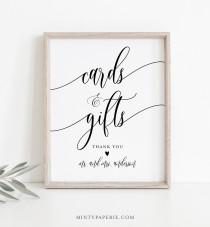 wedding photo - Cards and Gifts Sign, Printable Wedding Gift, Editable Template, Modern Calligraphy, Tabletop Sign, Instant Download, Templett 8x10 #008-08S