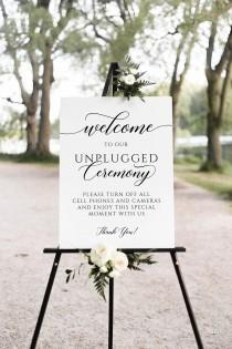 wedding photo - Unplugged ceremony sign, Wedding unplugged sign, Minimalist sign #SCR020LWT