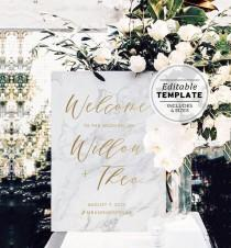 wedding photo - Marble Textured & Gold Wedding Welcome Sign Printable Template #010