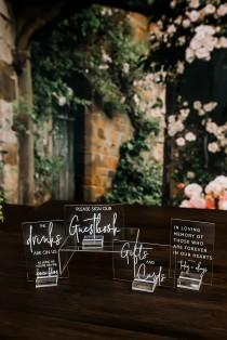 wedding photo - Set of 4x6 OR 5x7  Acrylic Wedding Signs, Gifts and Cards In Loving Memory Please Take One Favors Clear Glass Modern Calligraphy Sign, SIGNA