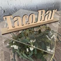wedding photo - Taco Bar Wood Sign - Taco Bar Sign - Wedding Taco Sign - Wedding Food Signs - Fiesta Bar - Food Signage - Unfinished Taco Stand Sign