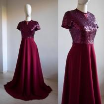 wedding photo - Made To Measure Silk Chiffon With Top Sequin Burgundy Bridesmaid Maxi Dress, Short Sleeve Sequin Long Made Of Honor Dress, Close Back Dress