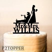 wedding photo - Personalized Welder and Bride Wedding Cake Topper, Professional Welder Cake Topper,  Welding Soldering Blowtorch, Funny cake topper  (0418)