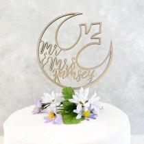wedding photo - Custom Wedding Cake Topper - custom name - Wooden Star Wars Rebel Alliance Ship Cake Topper