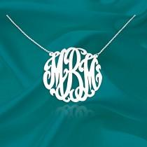 wedding photo - Original Monogram Necklace - Sterling Silver Initial Necklace - Personalized Monogram Necklace - Monogrammed Gifts for her - Made in USA