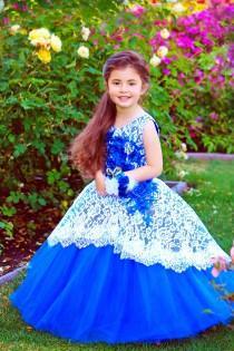 wedding photo - Royal Blue Flower girl dress Tulle Princess party girls