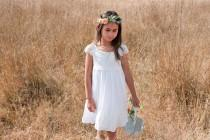wedding photo - Country Flower Girl Dresses, Rustic Flower Girl Dresses, Crochet Girl Dress, Ivory Flower Girl Dress Lace, Girls Lace Dress, Photo Dress