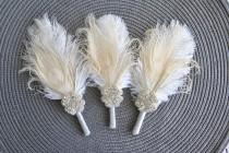 wedding photo - Crystal Groom boutonniere Ostrich Feather Bridal Ivory Gold Gatsby 1920s groomsmen boutonnire wedding feathers boutonniere button hole pin