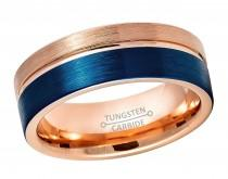 wedding photo - Blue & Rose Gold Tungsten Wedding Band, Grooved Pipe Cut Tungsten Carbide Ring, Brushed Finish Comfort Fit Tungsten Anniversary Ring TN878PL