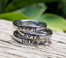 wedding photo - Stacking Name Rings, Personalized Ring For Mom, Stackable Rings, Mothers Rings, Gift for Mom, Silver Stacking Rings, Round Front Ring