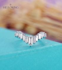 wedding photo - Art deco diamond wedding band White gold, Baguette diamond wedding band, Vintage CZ Matching stacking band Bridal Promise Anniversary ring