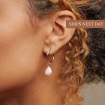 wedding photo - MARGOT Pearl Hoops • Pearl Huggie Hoops • Pearl Earrings • Pearl Jewelry • Bridesmaids Jewelry • ER022