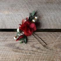 """wedding photo - Hairpin """"Fauve"""", burgundy preserved hydrangea hair stick, hair accessory in natural flower, Christmas gift"""