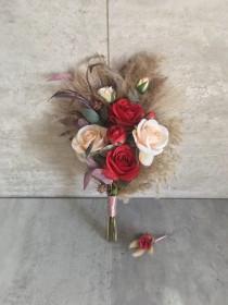 """wedding photo - Dark Red Burgundy & Ivory Bouquet With Pampas Grass 12""""/ Boho Vintage Wedding Bouquet/ Bridal Bridesmaid Bouquet/ Wedding Centerpiece"""