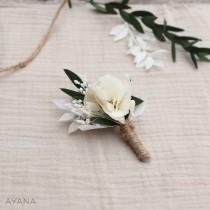 """wedding photo - Buttonhole """"Merite"""", boho wedding preserved flower accessory, flower brooch for groom, witness and groomsmen gift, dried and preserve flower"""