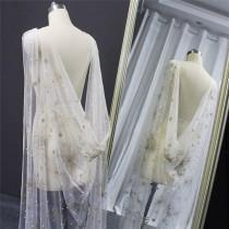 wedding photo - Gold Glitter Star and Pearl Cape Veil, Tulle Wedding Cape, starburst wedding Bridal Veil,soft sheer wedding cape,long chapel veil cape cloak