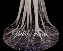 wedding photo - cathedral crystal veils, chapel crystal wedding veil, royal crystal bridal veil, crystal cathedral wedding veil with blusher