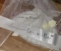 wedding photo - Personalised Veil, Personalised Sash Hen Party Veil, Bride To Be