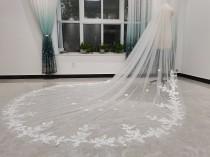 wedding photo - Lace Applique Bridal Veil, One Layer Wedding Veil, Cathedral Wedding Veil, Lace Wedding Veil, Bridal Wedding Veil