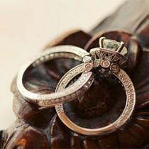 wedding photo - Vintage Anillos de bodas de diamante