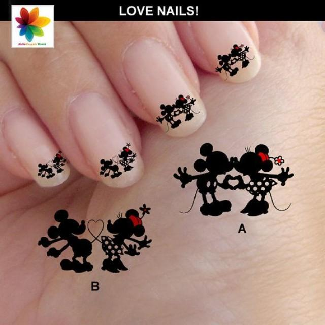 Valentine Day Mouse In Love Disney Nail Art Cartoon Mickey 60 Waterslide Stickers Decal Clear Background