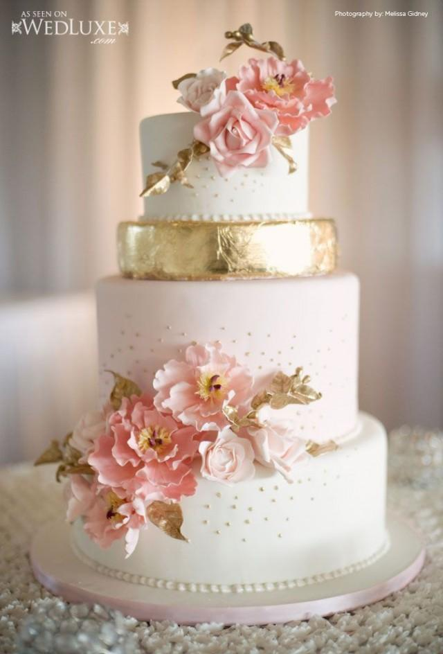 pink white and gold wedding cake gold wedding wedluxe pink and gold cake 2040068 weddbook 18599