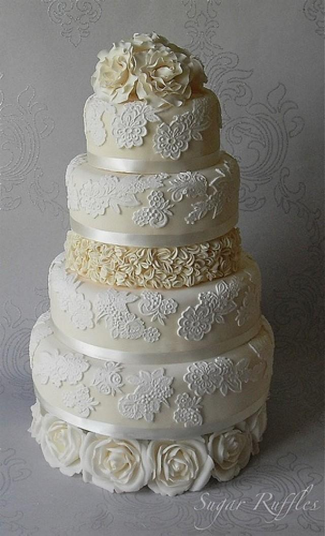 wedding cakes with ruffles and roses lace wedding cake with ruffles and roses 2052956 weddbook 26113
