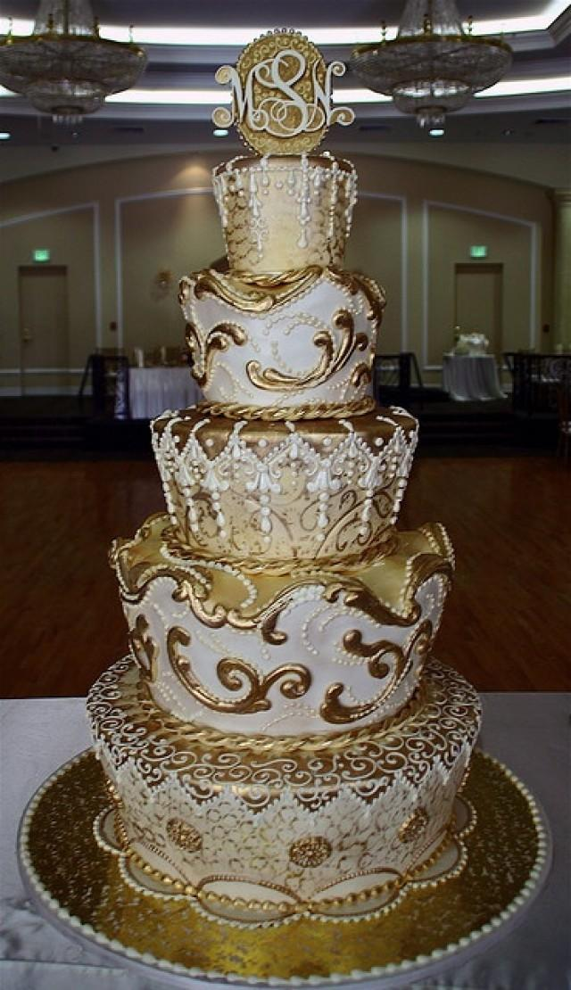 gold and white wedding cake ideas ivory wedding gold cake 2052963 weddbook 14744