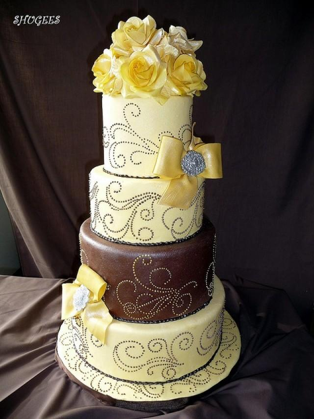 chocolate brown and gold wedding cakes yellow wedding yellow amp brown wedding cake 2058093 12689