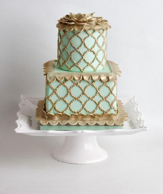 mint green and gold wedding cake mint wedding mint amp gold wedding cake 2063494 weddbook 17443