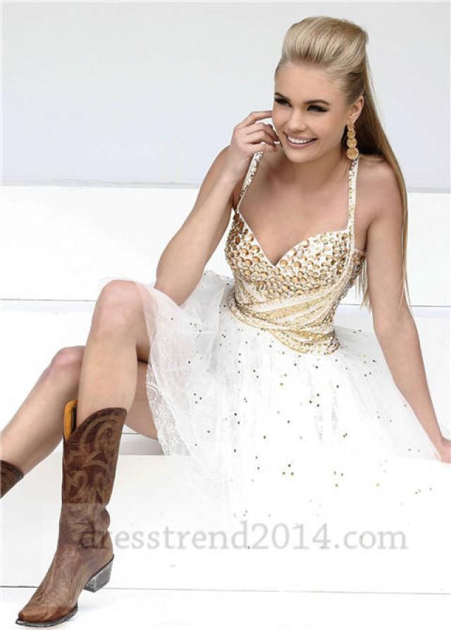 Short White Gold Beaded Prom Dresses For Cheap #2064356 ...
