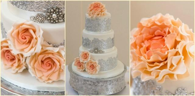 peach white and silver wedding cake silver wedding ivory silver collage 2090534 18154