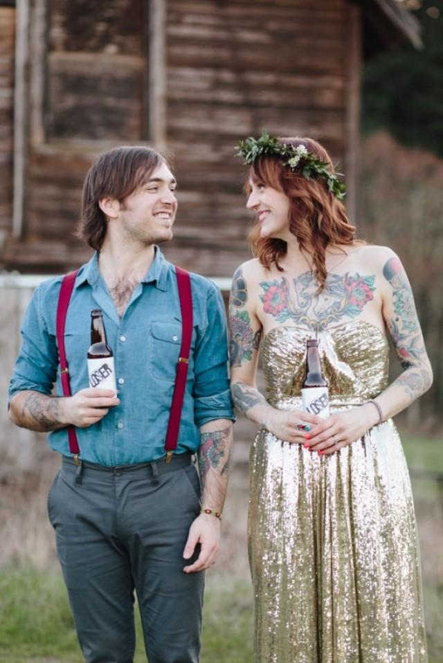 Horses A Gold Wedding Dress And Stunning Tattooed Bride Ginny Jack Weddbook
